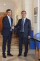 Foto/IPP/Gioia Botteghi 14/09/2015 Roma presentata oggi a Roma la nuova edizione del programma de La7, DI MARTEDI', nella foto l'amministratore delegato de la7 Marco Ghigliani con Giovanni Floris