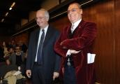 Foto/IPP/Gioia Botteghi 10/12/2015 Roma presentazione del programma rai, Renzo Arbore Day, nella foto Renzo Arbore con Walter Veltroni