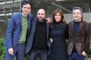 Foto/IPP/Gioia Botteghi 29/12/2015 Roma presentazione del film Quo Vado?, nella foto: Checco Zalone con il regista Gennaro Nunziante ed il produttore Pietro Valsecchi con la moglie Nesbitt