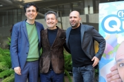 Foto/IPP/Gioia Botteghi 29/12/2015 Roma presentazione del film Quo Vado?, nella foto: Checco Zalone con il regista Gennaro Nunziante ed il produttore Pietro Valsecchi