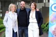 Foto/IPP/Gioia Botteghi 29/12/2015 Roma presentazione del film Quo Vado?, nella foto: Checco Zalone con Eleonora Giovanardi e Sonia Bergamasco