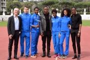 Foto/IPP/Gioia Botteghi 21/03/2016 presentazione al coni del film RACE, testimonial  FIONA MAY, l'attore protagonista STEPHAN JAMES e quattro giovani atleti italiani ed il giornalista Federico Buffa
