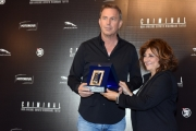 Foto/IPP/Gioia Botteghi 08/04/2016 Roma presentazione del film CRIMINAL, nella foto: KEVIN COSTNER premiato con il nastro D'argento da Laura Delli Colli