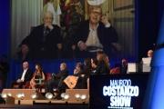 Foto/IPP/Gioia Botteghi 23/11/2016 Roma  puntata del Costanzo Show in video Sgarbi con il padre 95enne