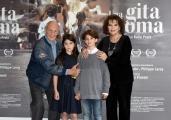Foto/IPP/Gioia Botteghi 18/04/2017 Roma presentazione del film  Una gita a Roma, nella foto: Philippe Leroy con Claudia Cardinale e Tea Buranelli e Libero Natoli