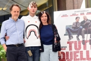 Foto/IPP/Gioia Botteghi 05/05/2017 Roma presentazione del film TUTTO QUELLO CHE VUOI, nella foto  il regista Francesco Bruni con il figlio Arturo e la moglie Raffaella Lebboroni