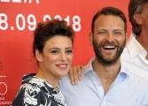 """75th Venice Film Festival 2018, Photocall film """"Sulla mia pelle"""". Pictured: Alessandro BorghiJasmine Trinca, Max Tortora"""