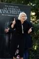 Foto/IPP/Gioia Botteghi 13/02/2018 Roma, presentazione del film LA VEDOVA WINCHESTER, nella foto: HELEN MIRREN con il Backtrop che le è caduto sulle spalle Italy Photo Press - World Copyright