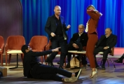 Foto/IPP/Gioia Botteghi Roma 30/04/2019  Maurizio Costanzo show sesta puntata, nella foto: Soleil Sorge cammina sulla schiene di Jeremias Rodriguez sorretta da Rudy Zerbi Italy Photo Press - World Copyright