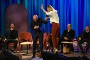 Foto/IPP/Gioia Botteghi Roma 30/04/2019  Maurizio Costanzo show sesta puntata, nella foto: Soleil Sorge cammina sulla schiene di Pio sorretta da Rudy Zerbi Italy Photo Press - World Copyright