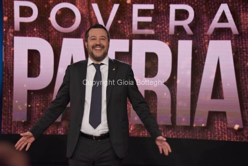 Foto/IPP/Gioia BotteghiRoma24/01/2019 prima puntata della trasmissione Povera patria su rai 2 , nella foto: l'ospite in onda domani sera Matteo SalviniItaly Photo Press - World Copyright