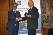 Foto/IPP/Gioia Botteghi Roma21/11/2018  Presentazione 50° anniversario del Concorso Radiotelecronisti Rai, nella foto il presidente della Rai Marcello Foa premia Nuccio Fava Italy Photo Press - World Copyright
