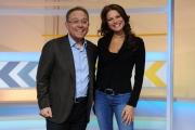 23/01/2013 Roma nuova trasmissione di rai sport 90MINUTI, nella foto la conduttrice Valeria Ciardiello ed Enrico Varriale