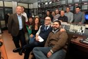 23/01/2013 Roma nuova trasmissione di rai sport 90MINUTI, nella foto la conduttrice Valeria Ciardiello ed Enrico Varriale in regia