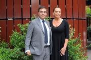 02/05/2013 Roma Barbara De Rossi conduce la nuova serie di rai tre Amore criminale, nella foto con il direttore di raitre Andrea Vianello