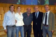 20/09/07 prima puntata di ANNO ZERO nelle foto: il regista Alessandro Renna, Beatrice Borromeo,  Vauro, Santoro Marco Travaglio