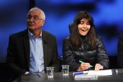 28/02/2016 Roma Lucia Annunziata a IN MEZZ'ORA,presenta i sei candidati alle primarie del PD, nalle foto: Chiara Ferraro ( con il papà)
