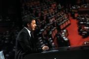 27/04/2014 Roma Matteo Renzi ospite di Lucia Annunziata nella trasmissione in mezz'ora, rai tre
