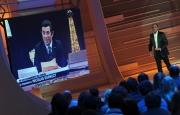 Roma 26/04/2010 prima puntata della trasmissione Aria Fresca, nella foto: Carlo Conti con Manlio Dovì che imita il presidente francese