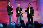 Roma 26/04/2010 prima puntata della trasmissione Aria Fresca, nella foto: Carlo Conti con Alessandro Bianchi e Michelangelo Pulci che imitano Dolce e Gabana
