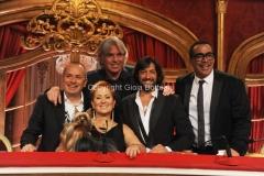 04/10/2014 Roma Ballando con le stelle, nella foto: la giuria Carolyn Smith, Fabio Canino, Guillermo Mariotto, Ivan Zazzaroni, Rafael Amargo