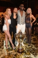 29/04/2017 Roma puntata finale di Ballando con le stelle, nella foto: i secondi classificati Fabio Basile e Anastasia Kuzmina ed i vincitori Oney Tapia e Veera Kinnunen