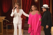 Foto/Gioia Botteghi 07/04/2018 Roma,  quinta puntata di Ballando con le stelle 2018, nella foto Romina e Albano e Milly Carlucci  Italy Photo Press - World Copyright