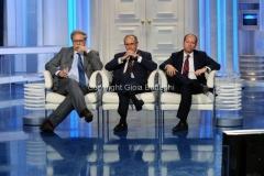 25/05/2011 Roma, Berlusconi ospite di Porta a porta i tre giornalisti : Stefano Folli, Massimo Franco, Virman Cusenza