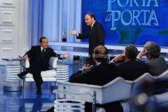 25/05/2011 Roma, Berlusconi ospite di Porta a porta con Vespa e i tre giornalisti : Stefano Folli, Massimo Franco, Virman Cusenza