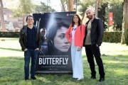 Foto/IPP/Gioia Botteghi Roma 29/03/2019 presentazione del film Butterfly, nella foto: Irma Testa con  i due registi Alessansro Cassigoli e Casey Kauffman Italy Photo Press - World Copyright