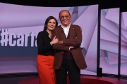 07/11/2016 Roma prima puntata di Carta Bianca rai tre , nelle foto: Bianca berlinguer con Renzo Arbore suo primo ospite