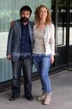 03/05/2013 Roma presentazione della nuova striscia tv di rai tre _Celi, mio marito_ nella foto la conduttrice Lia Celi, il poeta Guido Catalano