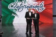 Roma 16/03/2011 Prima puntata raiuno di CENTOCINQUANTA, nella foto: Pippo Baudo, Bruno Vespa