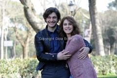 19/02/2013 Roma presentazione della fiction di raiuno, CHE DIO CI AIUTI 2, nella foto: Elena Sofia Ricci e Lino Guanciale