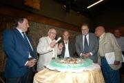 14/09/05 80 anni di ANDREA CAMILLERI, con lui nelle foto Il presidente della Rai Petruccioli,Zingaretti, il direttore Generale rai Meocci, Curzi