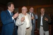 14/09/05 80 anni di ANDREA CAMILLERI, con lui nelle foto Il presidente della Rai Petruccioli,Zingaretti, il direttore Generale rai Meocci