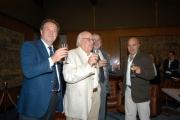 Gioia Botteghi/OMEGA 14/09/05 80 anni di ANDREA CAMILLERI, con lui nelle foto Il presidente della Rai Petruccioli,Zingaretti, il direttore Generale rai Meocci