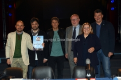 27/04/2016 Roma conferenza stampa del concerto del primo maggio in rai, nella foto: Luca Barbarossa, M. Bonelli organizzatore, C. Cavaudan organizzatore, L. Mazza sindacalista, N. Bosetto sindacalista, G. Ventura CISL, P. Bombardieri