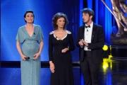 10/06/2014 Roma premio David di Donatello Sophia Loren con i due conduttori Foglietta e Ruffini