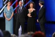 10/06/2014 Roma premio David di Donatello Sophia Loren , figlio Edoardo Ponti con i due conduttori Foglietta e Ruffini