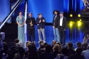 10/06/2014 Roma premio David di Donatello caparezza premia la migliore musica Pivio e Aldo De Scalzi