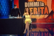 5/05/08 spot per la trasmissione di raiuno _dimmi la verità_ nella foto: Caterina Balivo, con il sig. Jose Hernadez De La Landa, tecnico della macchina della verità