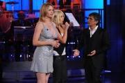 Roma 16/09/2009 trasmissione E HO DETTO TUTTO, nella foto Vincenzo Salemme, Anna Falchi, Emanuela Aureli imita Maria De Filippi