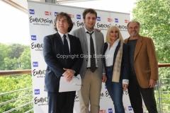 4/05/2011 Roma, presentazione di Eurovision Raidue, nella foto: Il direttore di rete Massiomo Liofredi, Raphael Gualazzi, Raffaella Carrà, Sergio Japino