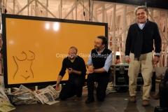 17/03/2013 Roma programma di raitre GAZEBO condotto da Diego Bianchi ( Zoro) nella foto con Marco Damilano ed il regista Igor Skofic