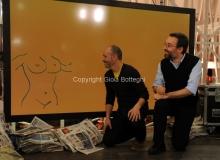 17/03/2013 Roma programma di raitre GAZEBO condotto da Diego Bianchi ( Zoro) nella foto con Marco Damilano