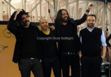 17/03/2013 Roma programma di raitre GAZEBO condotto da Diego Bianchi ( Zoro) nella foto con Marco D'Ambrosio ( Makkox), Roberto Angelini, Marco Damilano