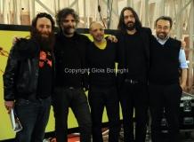 17/03/2013 Roma programma di raitre GAZEBO condotto da Diego Bianchi ( Zoro) nella foto con Marco D'Ambrosio ( Makkox), Roberto Angelini, Marco Damilano e Mirko Matteucci