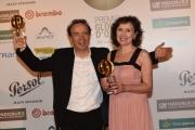 Foto/IPP/Gioia Botteghi 09/06/2016 Roma  Premiazione dei globi d'oro all'ambasciata di Francia , nella foto: Roberto Benigni e Nicoletta Braschi hanno ricevuto il premio alla carriera