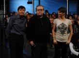 Roma 15/11/09 seconda puntata di GRAZIE A TUTTI, nella foto Gianni Morandi e Alessandra Amoroso, Vincenzo Mollica